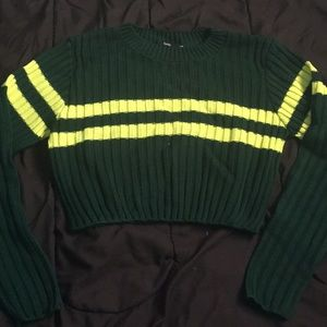 Ribbed Forest Green Varsity Cropped Sweater